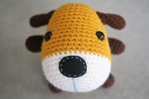 amigurumi sock puppy in yellow