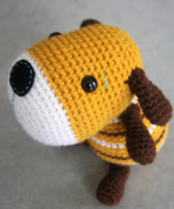 crochet sock puppy in yellow