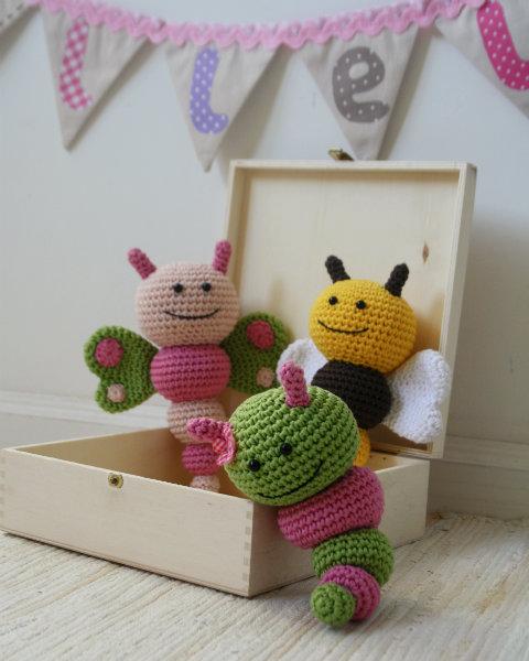 crochet rattles butterfly bee caterpillar