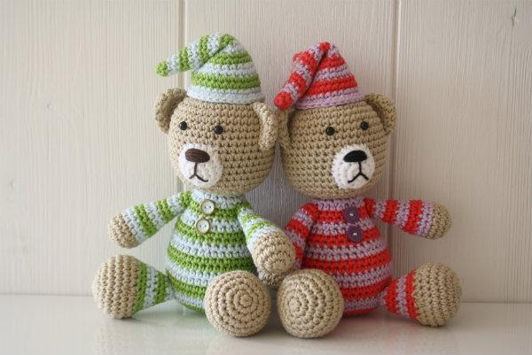 crochet teddy bear wearing pajamas