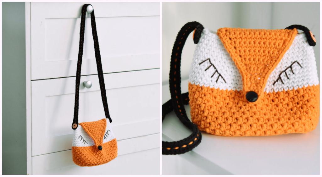 crochet fox purse for girls