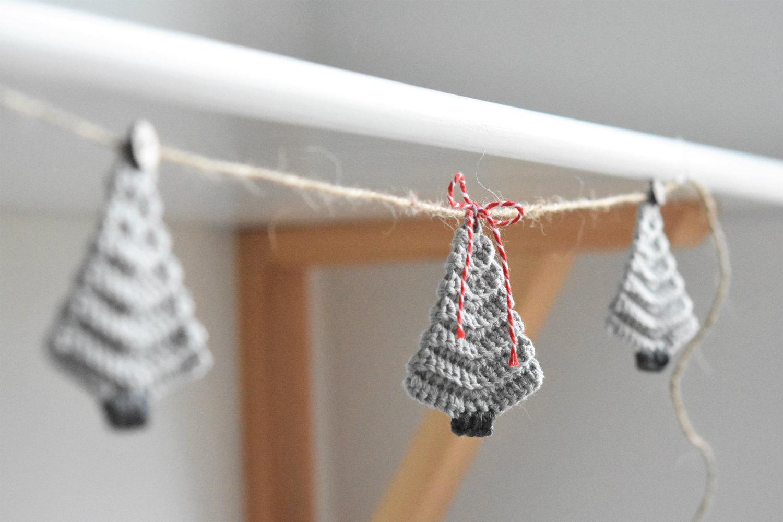 crochet rustic christmas tree garland