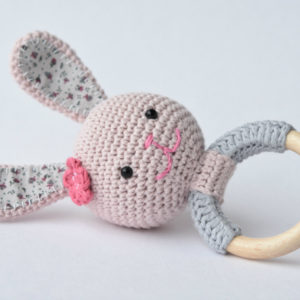 crochet bunny teething rattle