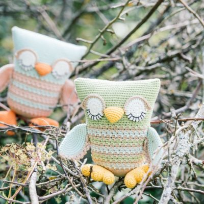 crochet owl with sleepy eyes