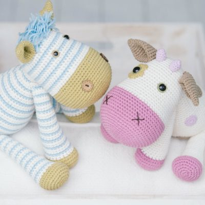 Crochet toys zebra and cow
