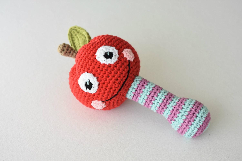 crochet baby rattle apple