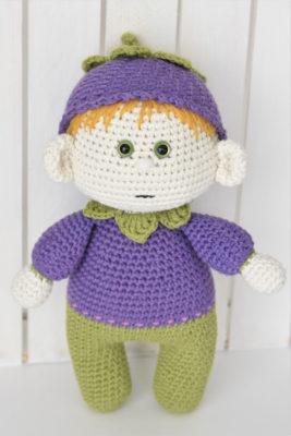 crochet blueberry doll