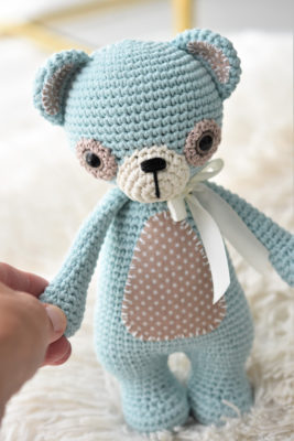 crochet teddy bear with fabric