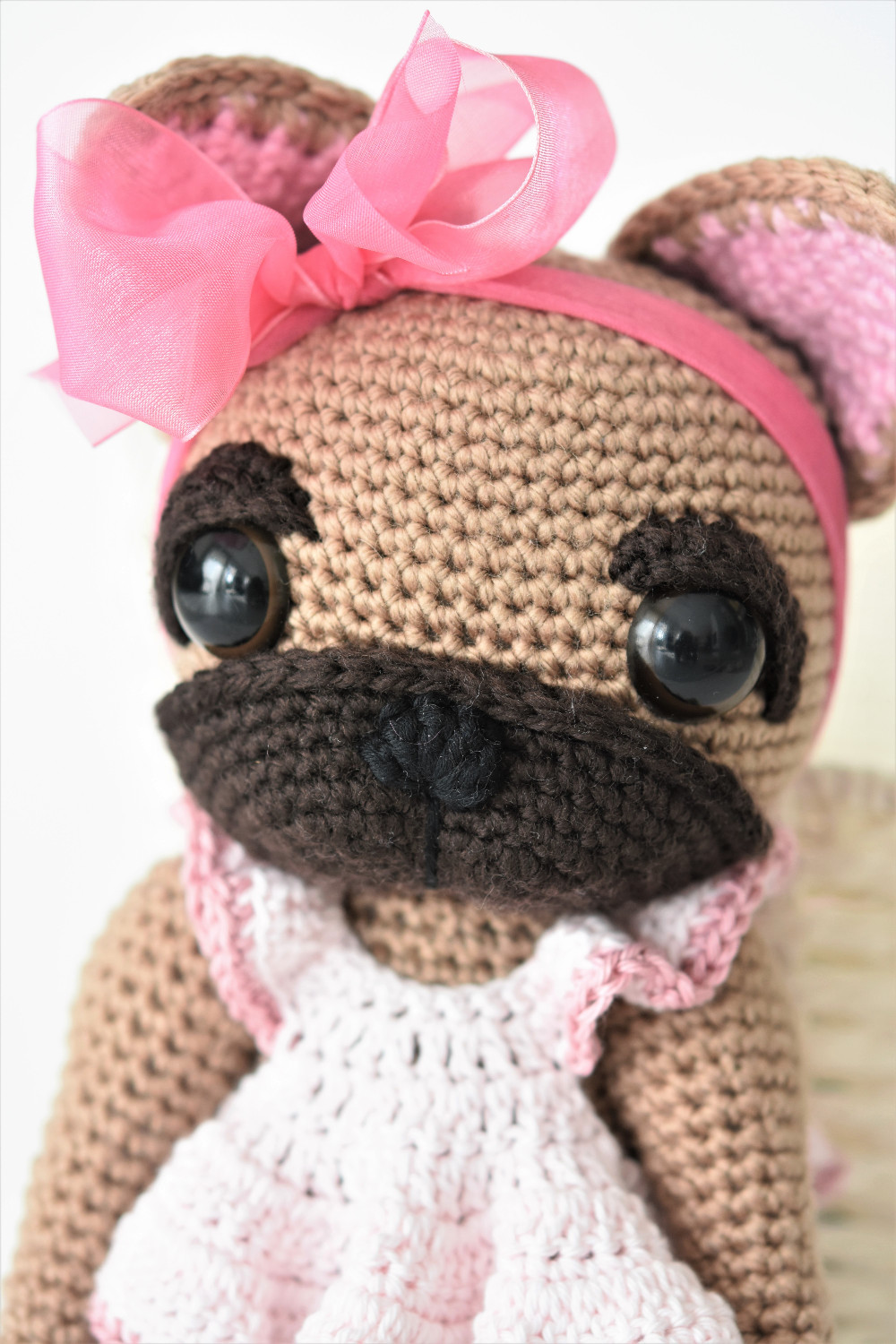 crochet french bulldog face