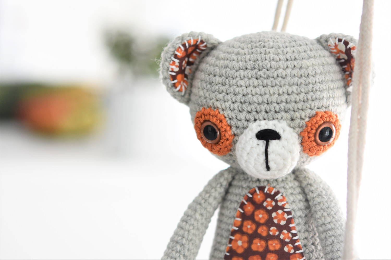 crochet teddy bear with fabric details