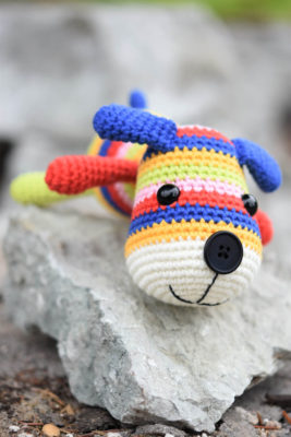 amigurumi stripy sock puppy