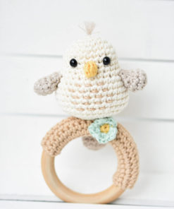 crochet baby rattle bird