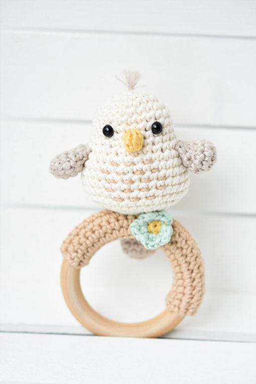 crochet baby rattle bird